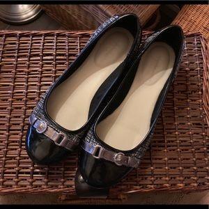 Comfortable Ballet Flats Black Patent + Tweed Sz.7